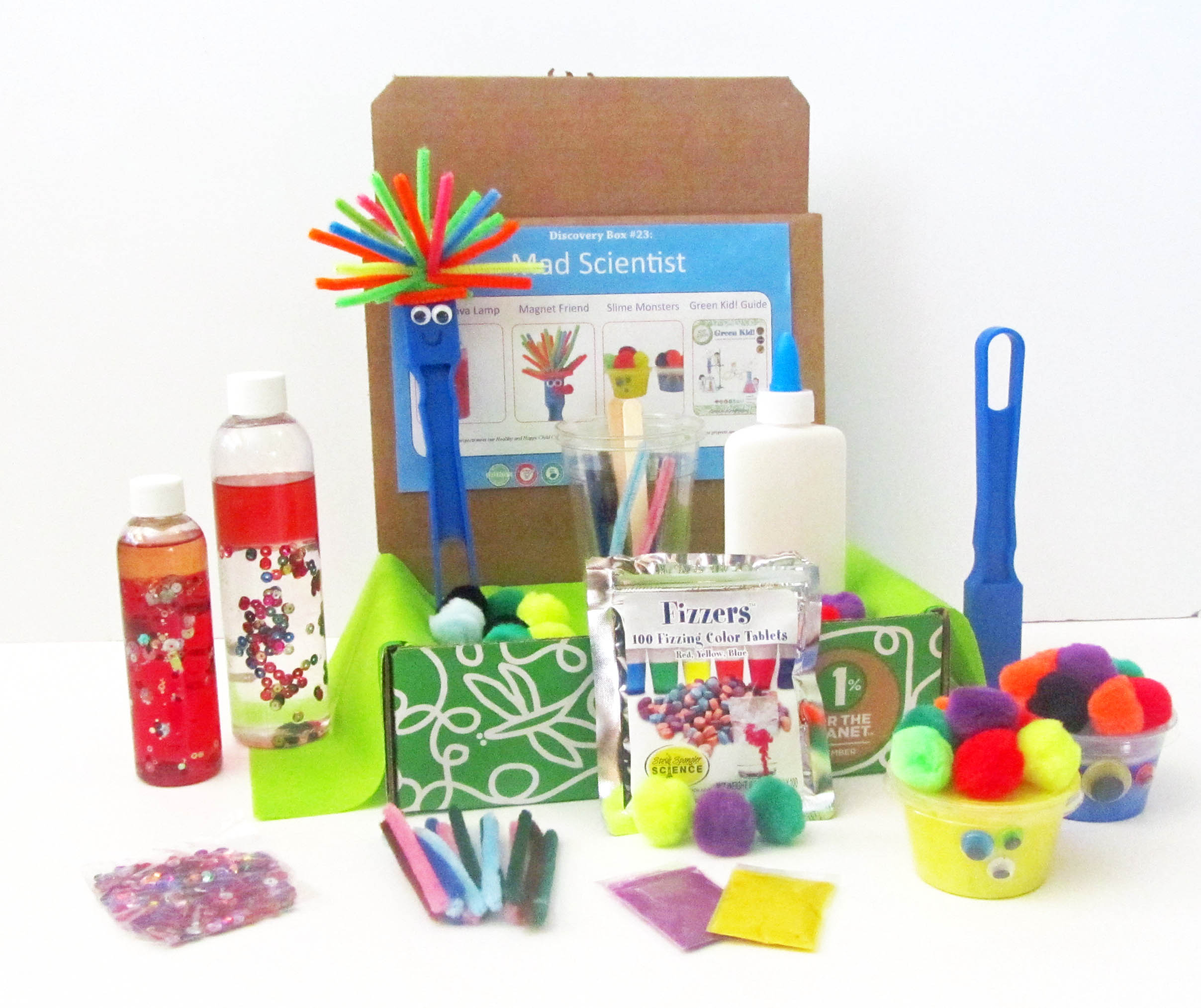Mad scientist discovery box green kid crafts for Craft boxes for children