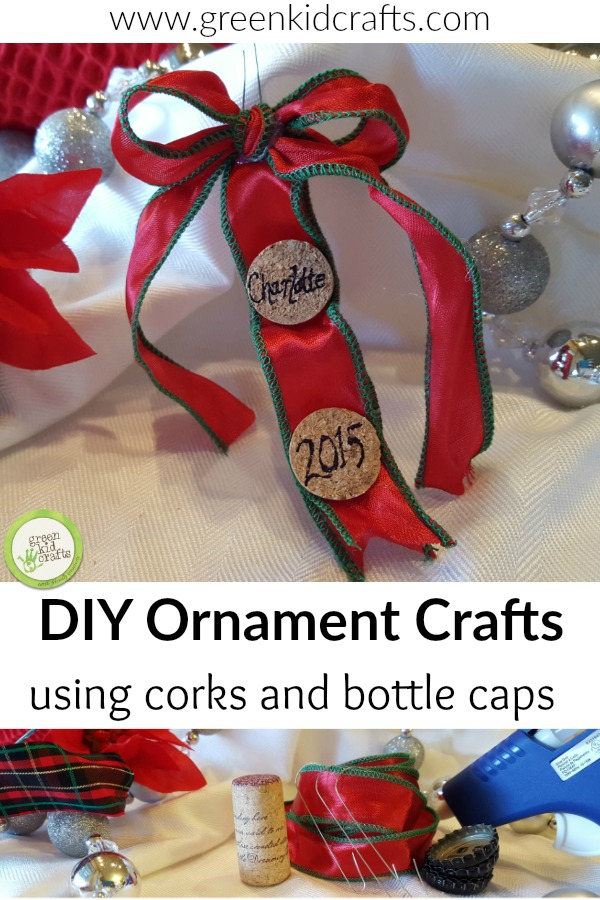 DIY Christmas Ornament made from corks and bottle caps. Make ornaments out of things you already have around the house!