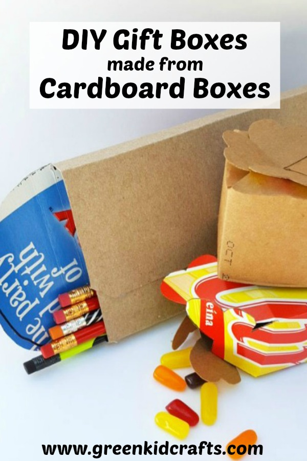 DIY gift boxes made from cardboard boxes. Upcycle cardboard boxes into gift boxes.