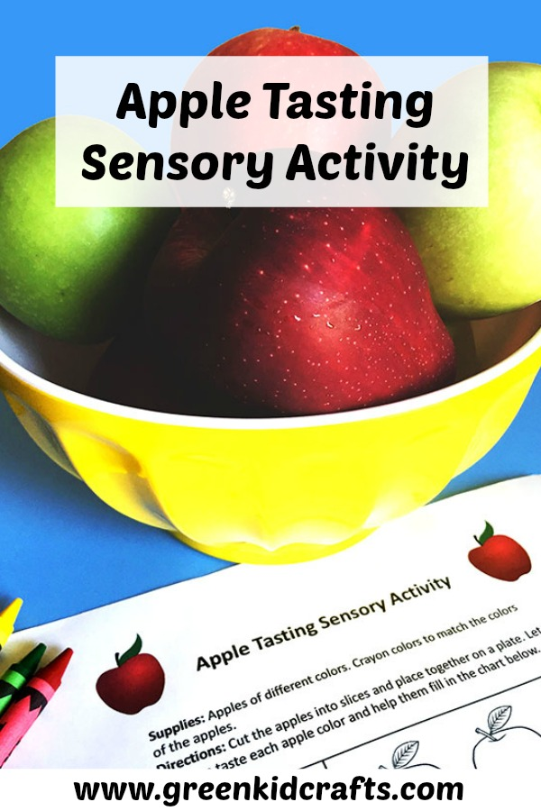 Apple tasting sensory activity with a free printable! Apple activity for fall.