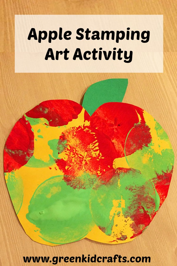 Apple stamping art activity for kids. Kids can make their own fall art with apples and paint!