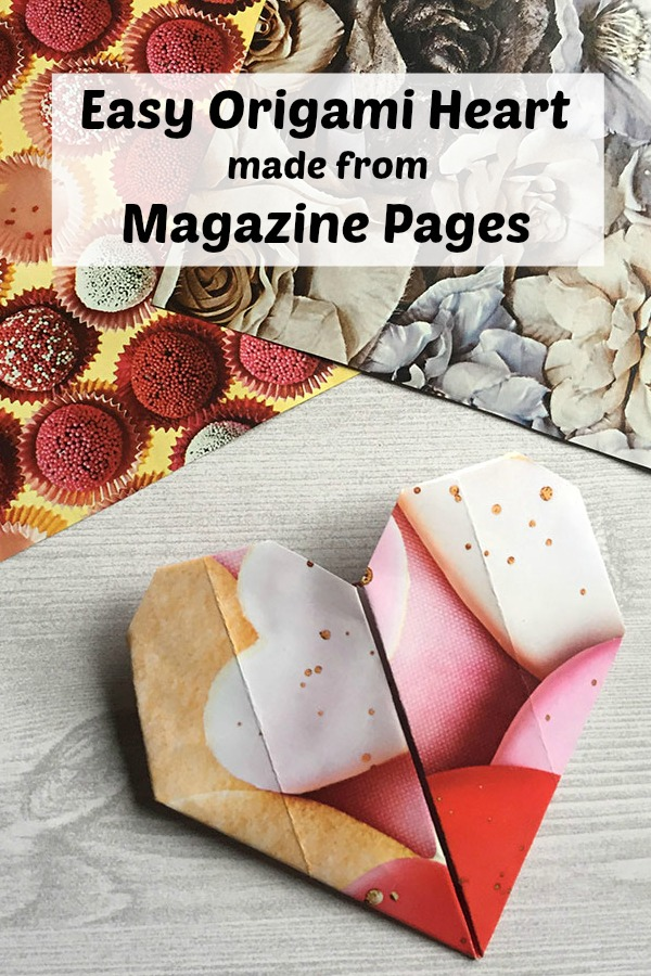 Easy origami heart made from the pages of a magazine. DIY oragami heart tutorial. This is a fun paper craft for anyone in the family!