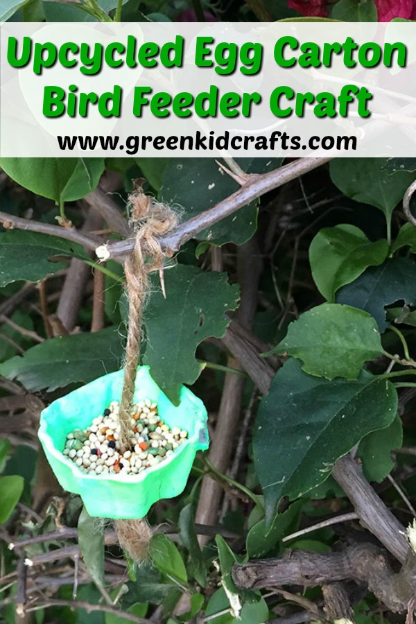Upcycled egg carton bird feeder craft for spring!
