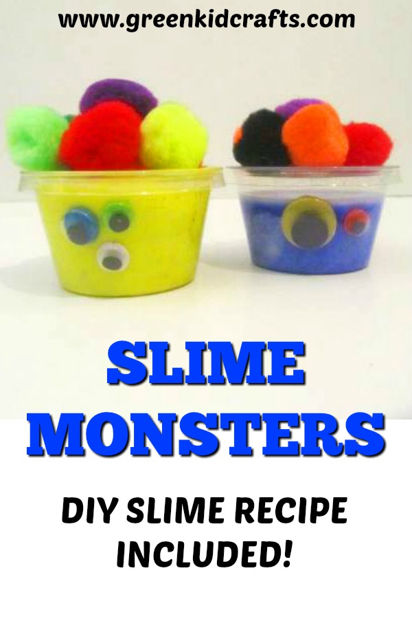 DIY slime monsters activity for kids. A fun twist on making slime at home. Silly monsters craft for kids.