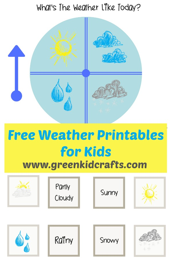 Free weather printables for kids. Check the weather each day and set your weather spinner to todays weather, match terms and pictures with weather vocabulary, and draw weather with weather with these weather activities for kids.