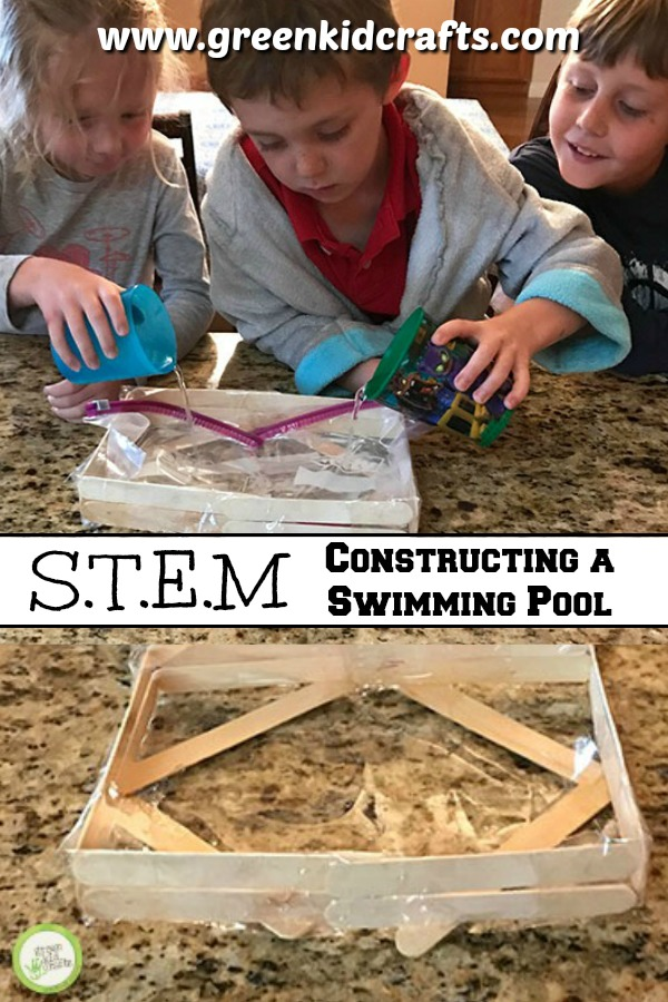 S.T.E.M. for kids! Use engineering skills to build a pool from materials found around the house. Learn about structures and materials with this cool STEM activity for kids.