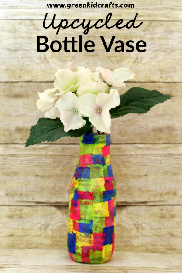 Upcycled bottle tissue paper craft for kids. Make a vase from an upcycled bottle.