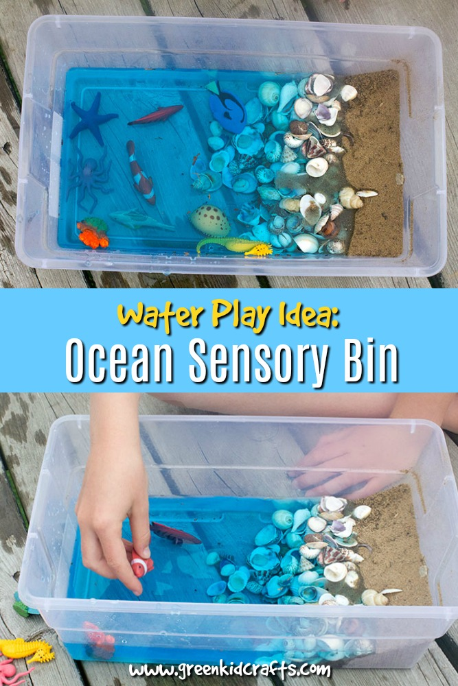Ocean themed sensory bin for kids. Play with shells, water and other textured objects with this fun ocean themed sensory tub.