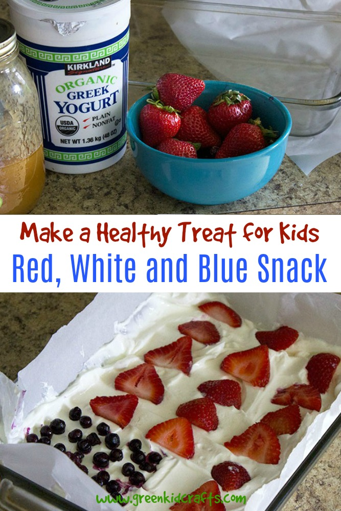 Easy patriotic snack for kids. Kids can make this red, white, and blue treat themselves for a 4th of July barbecue or family picnic.