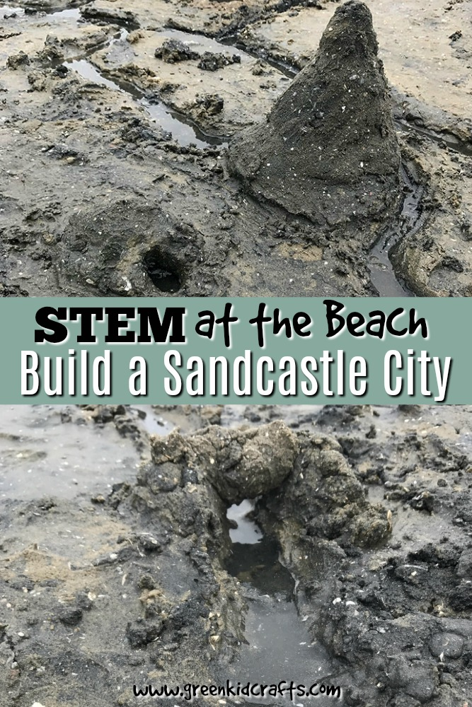 Beach day STEM with a sandcastle city. Enjoy an afternoon building and designing your own city made of sand.