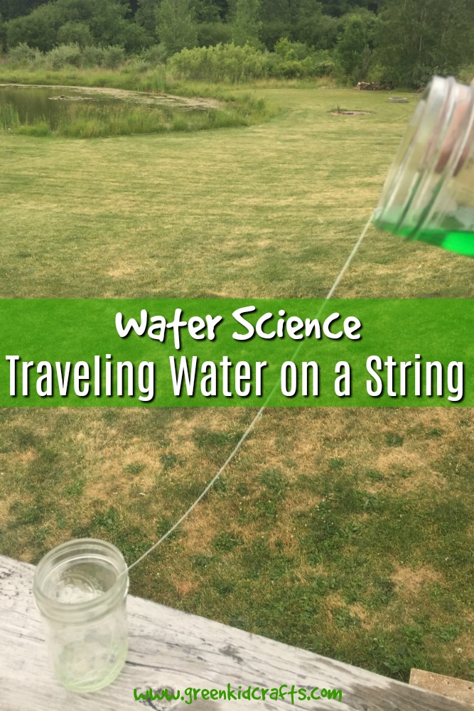 Traveling water experiment for kids. Make water travel on a string from one container to another like magic!