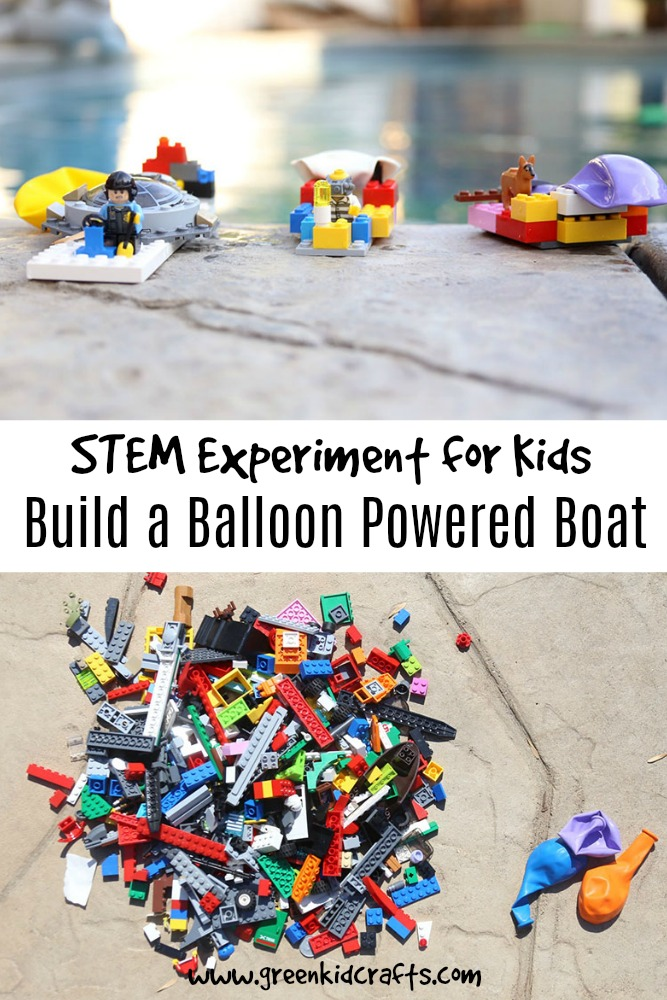 LEGO STEM Build a Balloon Powered Boat - Green Kid Crafts