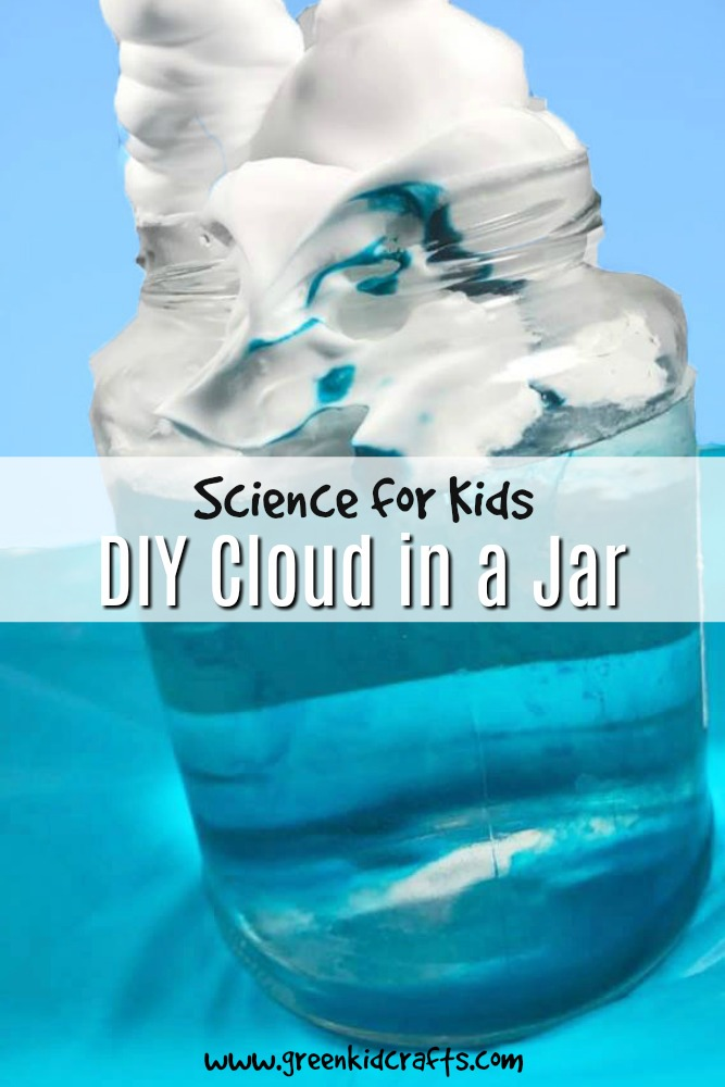 Experiment with weather and water science by making this cool cloud in a jar. Watch it rain from the clouds for a cool water cycle experiment.