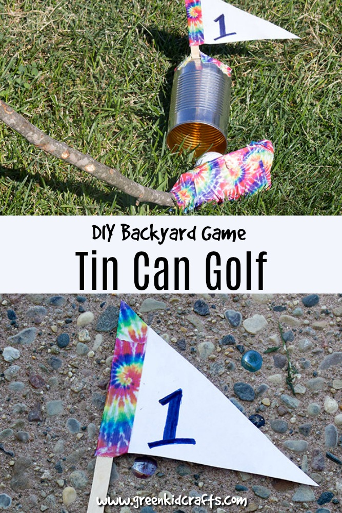 DIY backyard games for kids. Build a golf course in your backyard using tin cans.