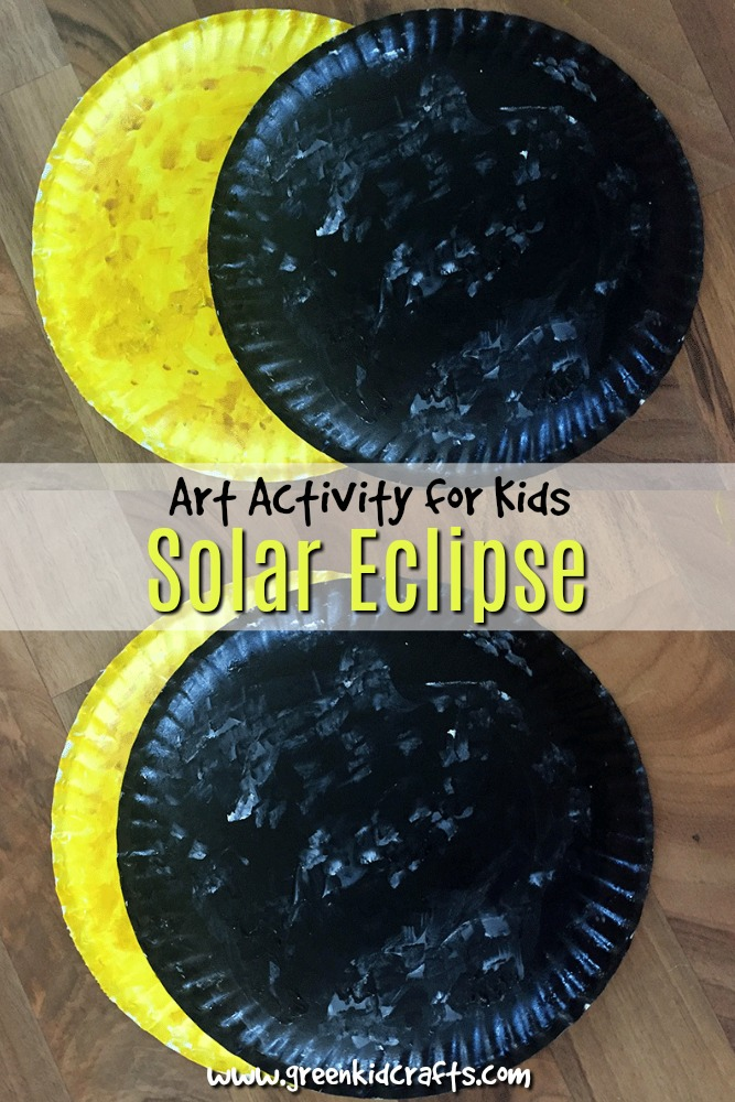 Paint a sun and moon to show younger kids what happens during a solar eclipse. Then hang the painted paper plate craft to make night sky art!