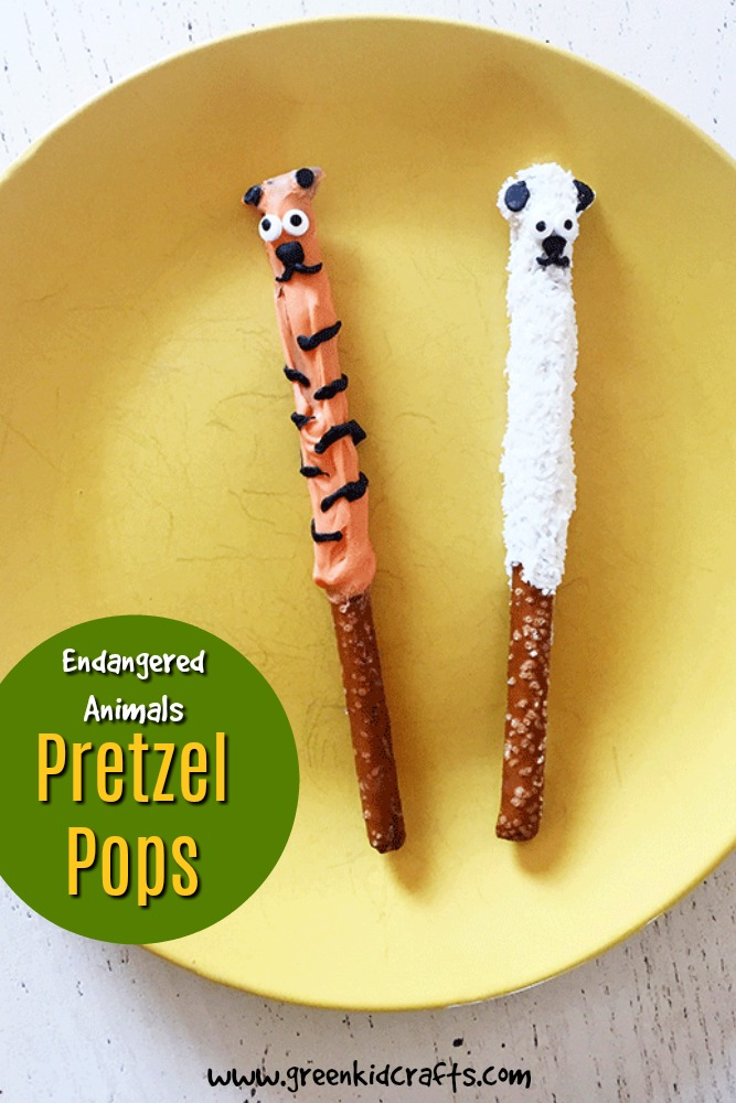 Animal pretzel pops recipe kids can make themselves. Get kids in the kitchen with these cute endangered animal themed snacks from Green Kid Crafts.
