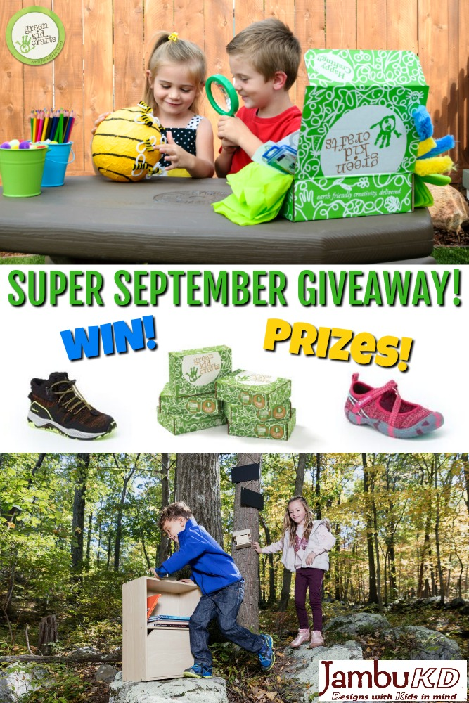Green Kid Crafts and JambuKD Super September Giveaway! Enter for your chance to win a 6 month subscription to Green Kid Crafts science and craft boxes for kids, and 2 pairs of JambuKD footwear for kids. #giveaway #september
