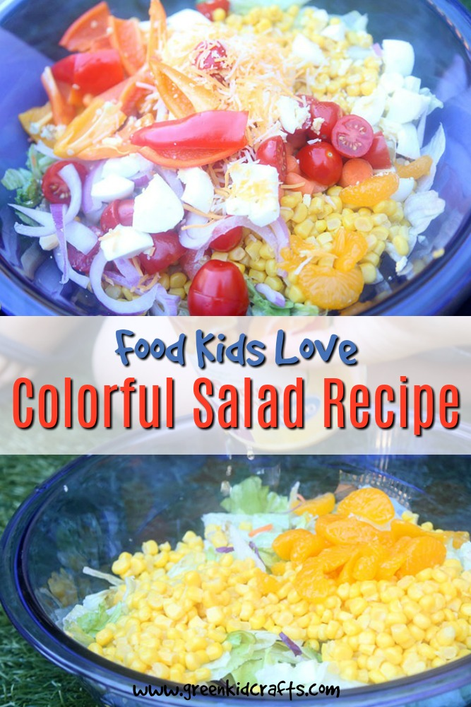 Make this colorful salad as a healthy treat for kids. Kids can help prepare this simple salad!
