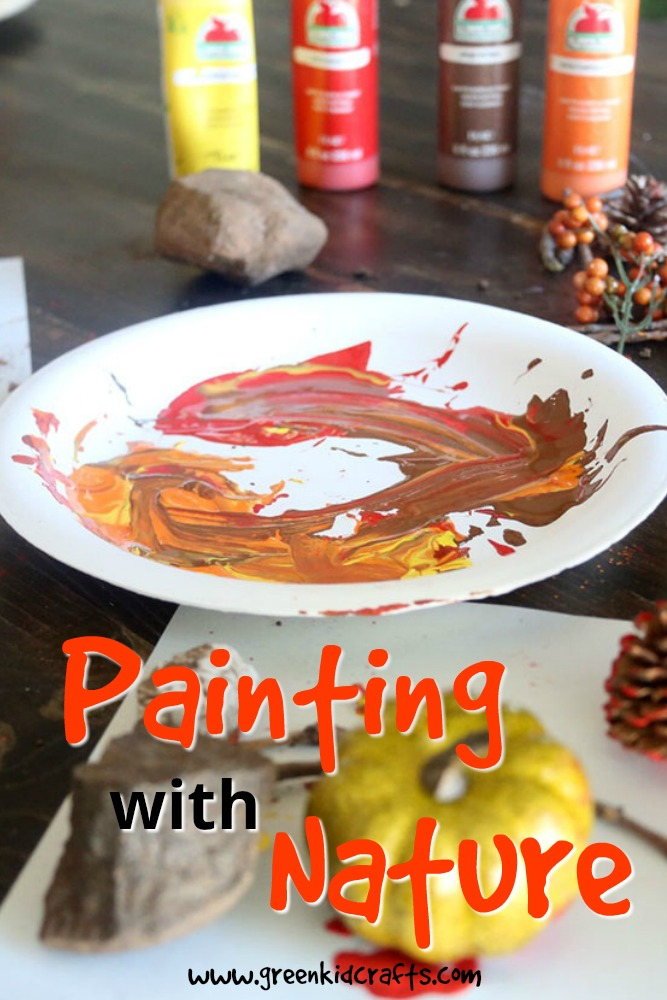 Paint with nature! Gather supplies from your own backyard to make a work of art. #preschoolcrafts #artprojects #kidsart
