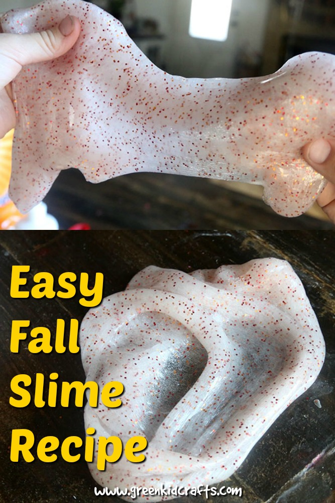 Make fall slime with this easy recipe. Sensory play, play ideas and simple slime.