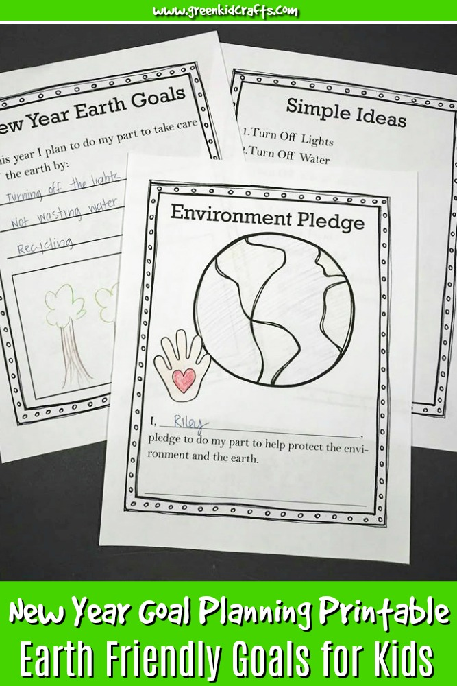 Teach kids to help their environment in the new year with this fun goal planning printable for kids. Kids will pledge to help the earth, set their own goals for the new year, and be given tasks to complete as the year goes on such as planting a seed. #printablesforkids #kidsprintables