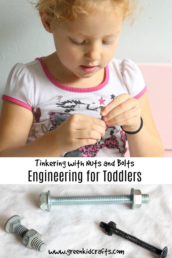 Gather nuts and bolts for the youngest of engineers to tinker with at home!